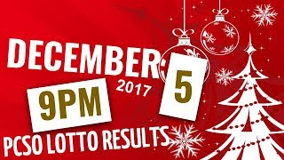 Lotto Results December 5, 2017 at 9:00 pm (Evening draw) ft. 6-58, 6-49, 6-42, 6D, Swertres & Ez2
