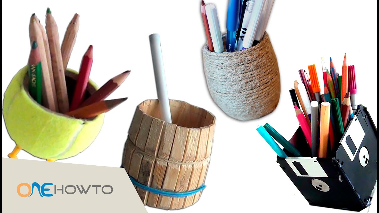 4 diy pencil holders crafts with waste material youtube for Waste material craft work with bottles