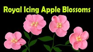 How to Make Royal Icing Apple Blossom Flowers by Cookies Cupcakes and Cardio
