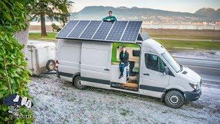 Sprinter Van Build with Bathroom and 960 Watts of SOLAR! Couple Van Life Tour.