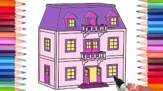 How to Draw a Dollhouse | Coloring Pages for Kids! | Learn to Draw!