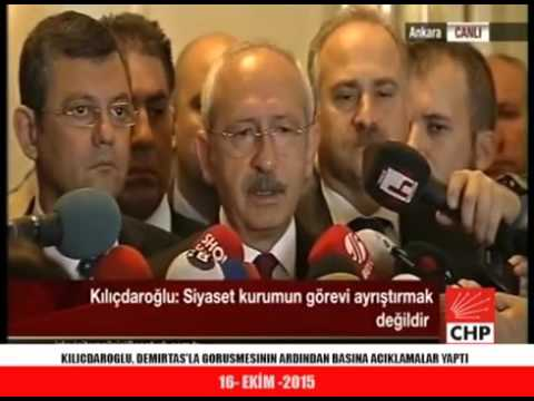 Turkish Oppostion Leader Kemal Kilicdaroglu talking to press - Oct 16 2015 - English subtitles