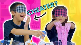 Extreme Blindfolded Slime Challenge! GUESS WHO CHEATS!