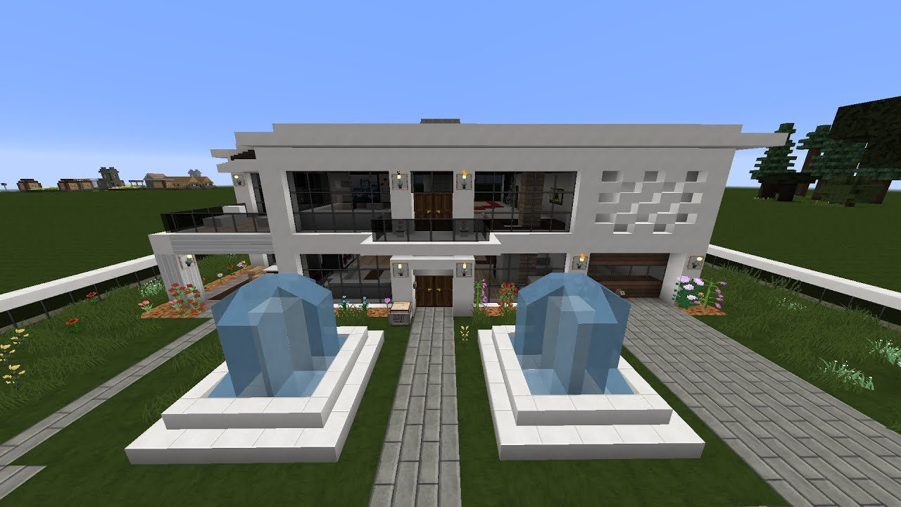 Como hacer una linda casa moderna facil pt1 youtube for Casas modernas minecraft faciles