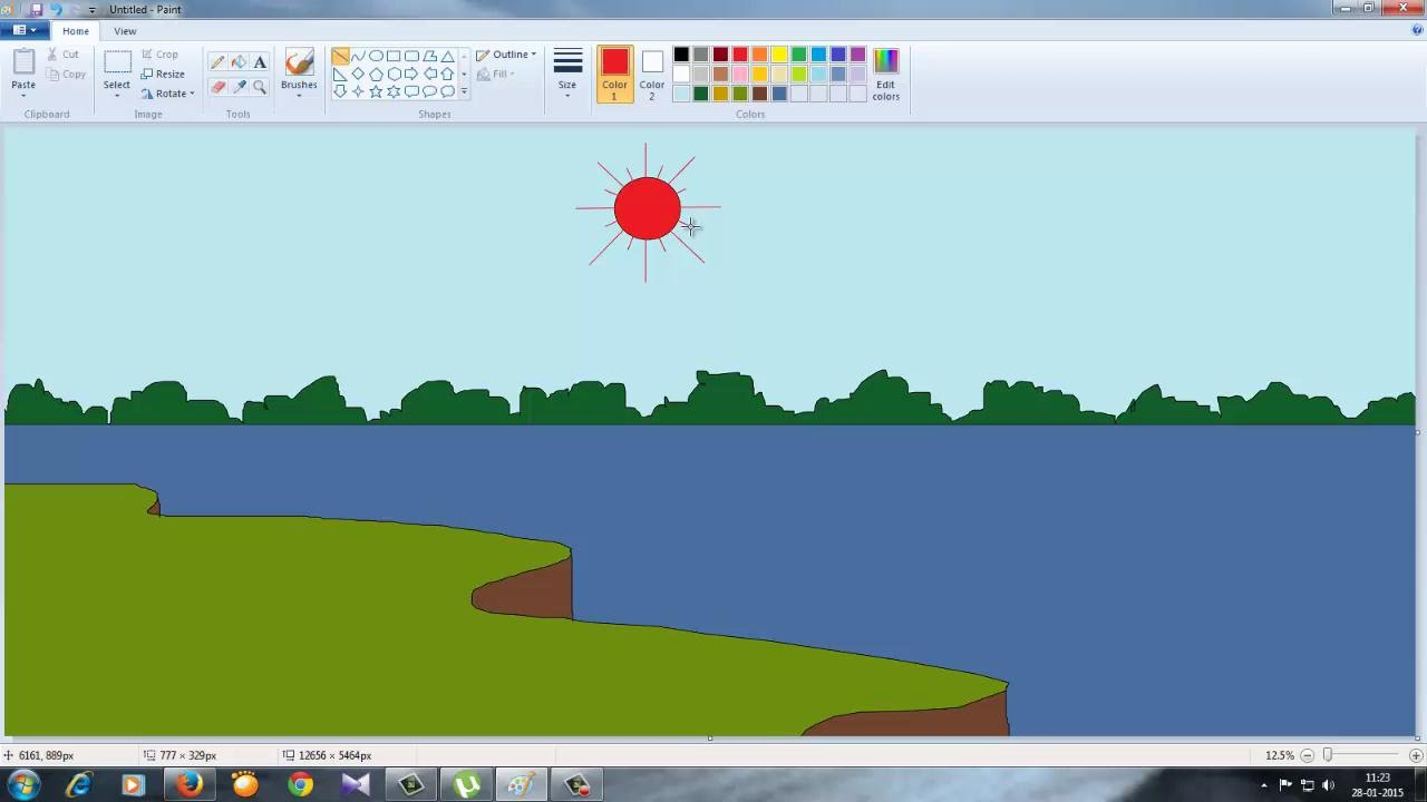 how to draw a easy scenery in ms paint for kids - Paint Drawing For Kids