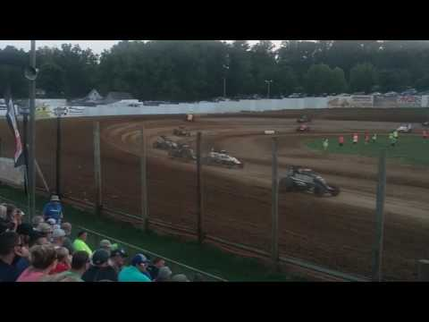 USAC Sprint Car Feature Cj Leary Flip  Lincoln Park Speedway