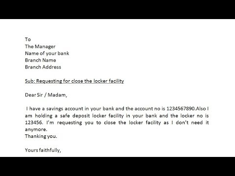 how to write application to bank manager to close the locker facility simplified in hindi