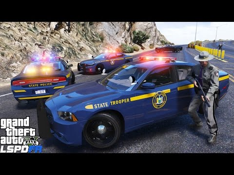 GTA 5 LSPDFR Police Mod 319 | New York State Police 2014 Dodge Charger | NYSP State Trooper Pursuit