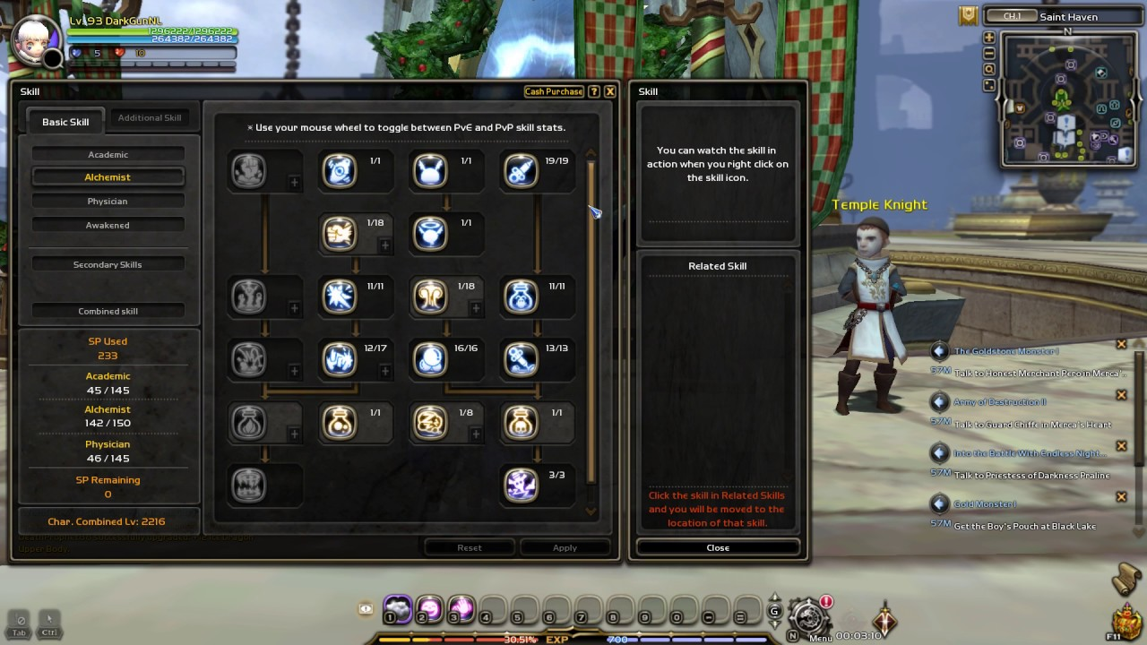 Dragon Nest Europe Lv93 Awakened Physician PVE Skill Build