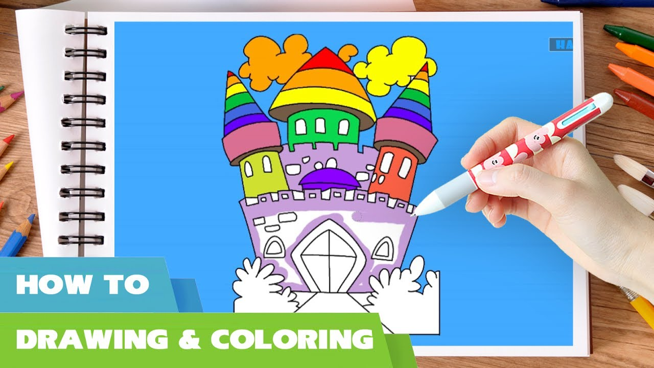 princess castle coloring pages for kids i how to draw castle of