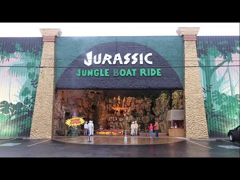 Jurassic Jungle Boat Ride - Full Lights On Ride & Walk Thru Behind The Scenes / Dinosaur Attraction