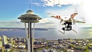 Drone over Seattle Space Needle - Stunning Aerial Videography HD - Lev Kalashnikov