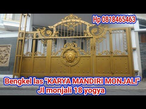 Pintu pagar tempa minimalis stainless bengkel las karya mandiri monjali yogyakarta