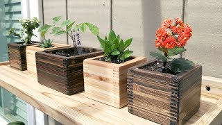 Making Small Planters from Scrap Wood【木工】碎木製作小花盆
