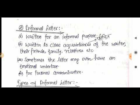 Informal Letter Writing, Format, Examples : 2 मार्क्स यहां से पक्के करें  अपने : 2nd सेमेस्टर