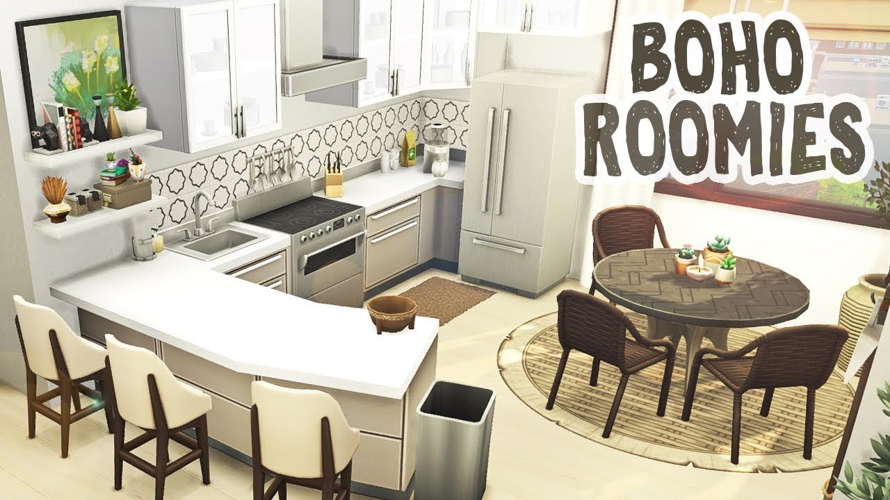 Boho Roommates || The Sims 4 Apartment Renovation: Speed ...