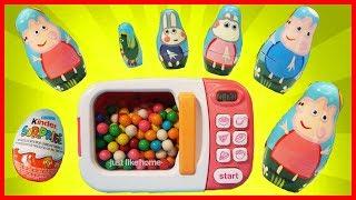 神奇微波爐玩具用魔法把泡泡糖變成了粉紅豬小妹套娃