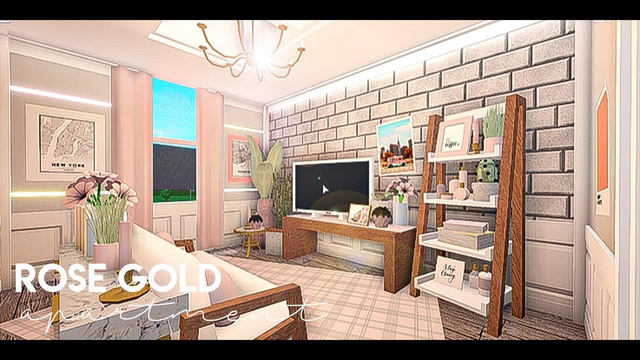Bloxburg Rose Gold Apartment 45k Voiceover Pls Dont Bully Me House Build Youtube