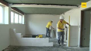 Ytong Porenbeton: Verarbeitung Innenwand mit Dünnbettmörtel