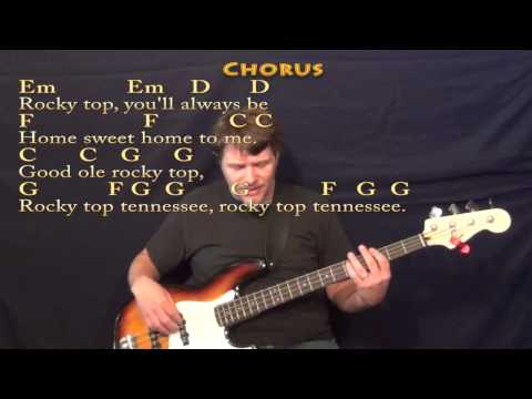 Rocky Top (OSBOURNE BROTHERS) Bass Guitar Cover Lesson in G with Lyrics/Chords