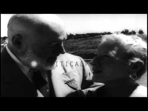 Ernest Hemingway with his wife Mary in Cuba. HD Stock Footage