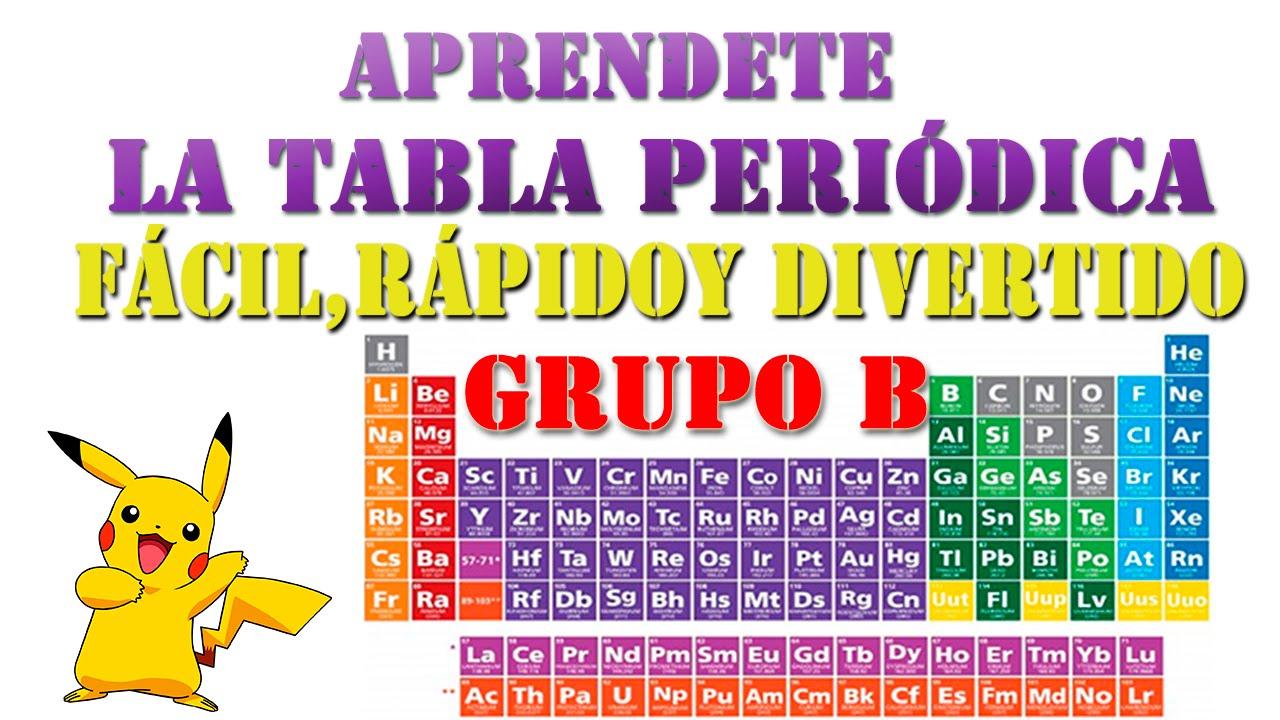 Forma facil de aprender la tabla peridica del grupo b en minutos forma facil de aprender la tabla peridica del grupo b en minutos youtube urtaz Image collections