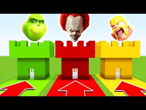 Minecraft: Do Not Choose The WRONG CASTLE (PENNYWISE, GRINCH, CLASH OF CLANS)(PS4/XboxOne/PE/MCPE)