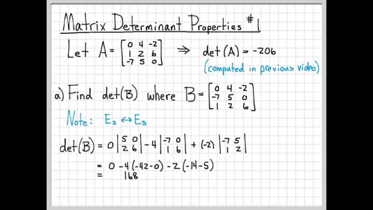 properties of determinants with examples pdf