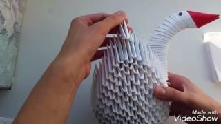 Оригами. Лебедь из бумаги. Оригами пошагово.