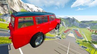 BeamNG.drive - DRAG MINI VAN VS CAR JUMP ARENA