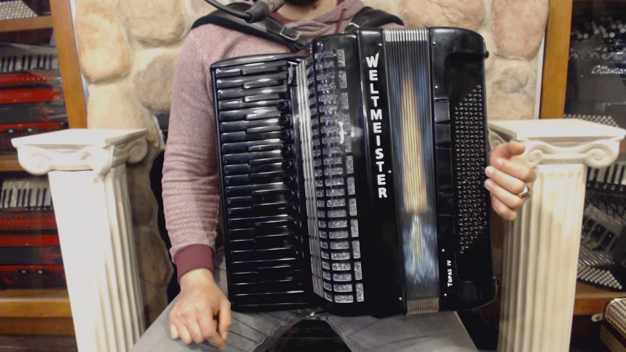 3356 - Black Starlight Weltmeister Topas IV Piano Accordion LMMH 37 96 $2499