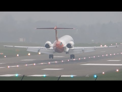 Helvetic F100 bad weather landing in Hannover!