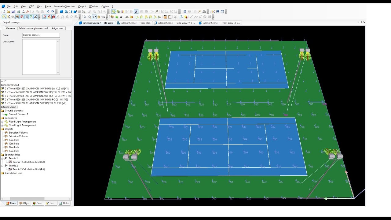 Tennis Courts Lighting Design Calculations Part 2