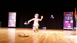 Akshara 3 yrs baby kuchipudi dance on bronze plate for gananayakaya ganeshaya dheemahi