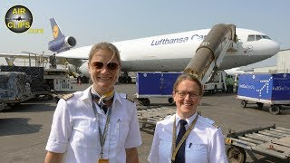BEST CREW Inge & Claudia MD-11 Cockpit Movie Mumbai-Hongkong Lufthansa Cargo [AirClips Cockpit Docu]
