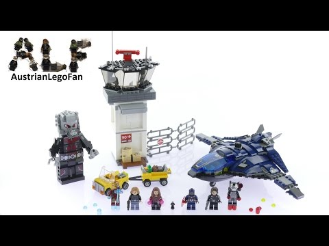 Lego Super Heroes 76051 Super Hero Airport Battle - Lego Speed Build Review: Lego Marvel Super Heroes 76051 Super Hero Airport Battle 807 pcs  $79,99 - €79,99 Year 2016 Lego 76051 Review Captain America 3 . Civil War  Join forces with Captain America, Scarlet Witch, Ant-Man and Agent 13 to help Winter Soldier escape in the awesome Quinjet. Enter the air traffic control tower through a tiny hole with Ant-Man to explode the boxes in front of the tower. Push the lever in the second-floor office to explode the walls. Explode the luggage cart to send suitcases flying, then transform Ant-Man into Giant Man to take on Iron Man! Flip out the wings of the Quinjet to take off and deploy the hidden stud shooters.  Escape in the stud-shooting quinjet from the airport featuring a control tower with 2 explode functions. Includes 6 minifigures and a buildable giant man figure.  Includes 6 minifigures: Captain America, Winter Soldier, Scarlet Witch, Iron Man, War Machine and Agent 13, plus an Ant-Man microfigure and a buildable Giant Man figure. Air traffic control tower features a visual control room with a swivel chair, second-floor office with computer screen element and opening cupboards and exploding wall function, first-floor room with opening side door and exploding boxes function activated by pushing the ant-man microfigure through a tiny hole in the wall, plus an attached fence. Turn the switch on the quinjet to reveal the hidden stud shooters underneath. The quinjet also features an opening dual cockpit, foldout wings for flight and landing modes and an opening rear hatch with a rope for a minifigure to grab onto. Activate the explode function on the rear trailer of the luggage cart to send 3 suitcase elements flying!  Pick up a minifigure with the giant man figure which features posable head, arms and legs. Weapons include Winter Soldier's gun and War Machine's shoulder-mounted stud shooter and baton. Accessory elements include Captain America's shield, Scarlet Witch's p