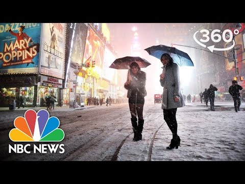 2017 Nor'easter Winter Storm Stella Envelops New York's Times Square | 360 Video | NBC News
