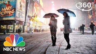 2017 Nor'easter Winter Storm Stella Envelops New York's Times Square | 360 Video | NBC News thumbnail