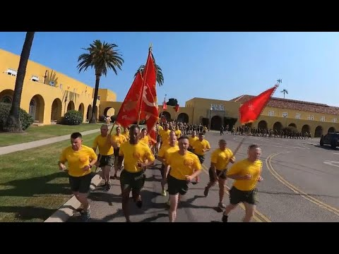 Golf Company Motivational Run at Marine Corps Recruit Depot, San Diego, July 15, 2021.