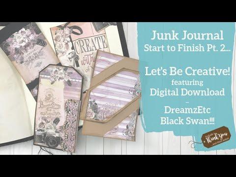 Junk Journal Process Video Pt 2 | Black Swan Digital Download | Making Tags, Pockets And Tucks!