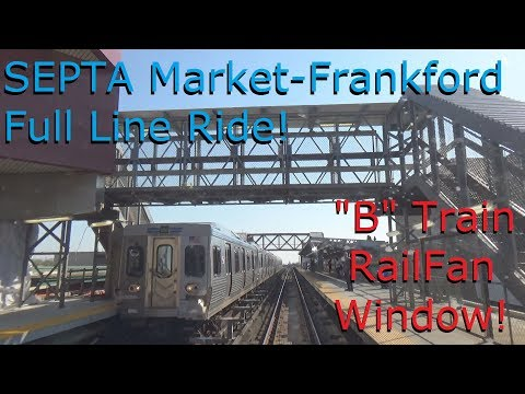 "Riding SEPTA ""B"" Train from Frankford to 69th St. Station Full Ride Railfan Window"