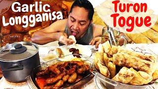 GARLIC LONGGANISA at PRITONG TURON/LUMPIANG TOGUE!!! Filipino Food. MUKBANG.