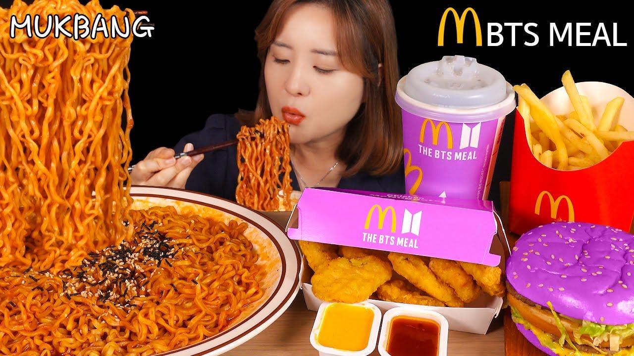 먹방 :) 불닭볶음면과 맥도날드 방탄세트~ spicy fire noodles    McDonald's BTS meal.