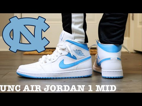 Review And On Feet Of The Air Jordan 1 Mid Unc Youtube