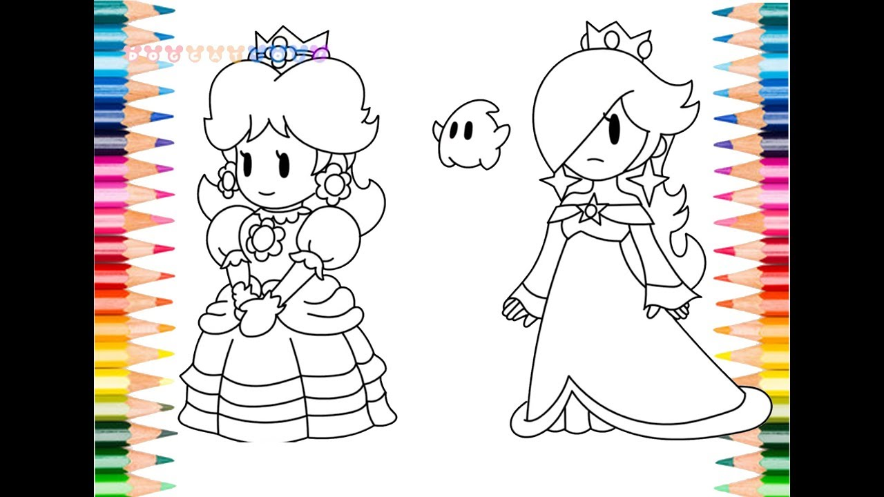 how to draw super mario paper priness daisy rosalina coloring pages for kids learning youtube. Black Bedroom Furniture Sets. Home Design Ideas