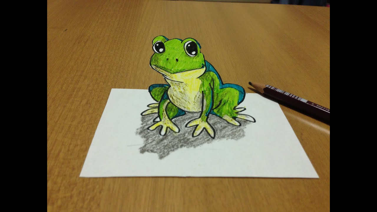 tricks art how i draw a 3d frog anamorphic illusion youtube