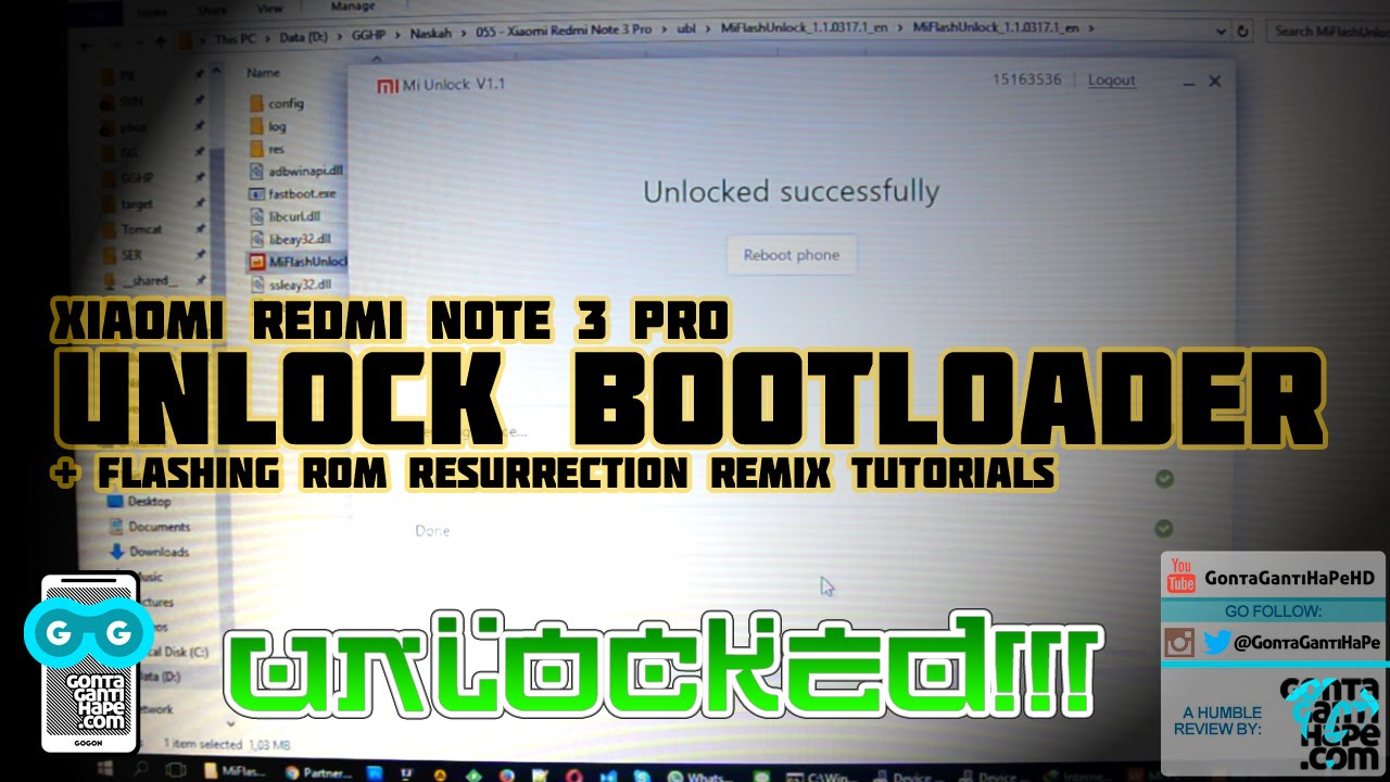 Tutorial Sederhana - Unlock Bootloader Xiaomi Redmi Note 3 Pro + Flash  Resurrection Remix ROM