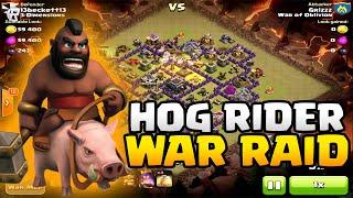 Clash of Clans War Raid - 40+ Hogs / LvL 10 Barbarian King & LvL 10 Archer Queen (100%)