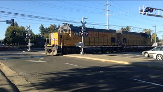Union Pacific #617 Folsom Turn Local Power Move Passing Butterfield Way Railroad Crossing