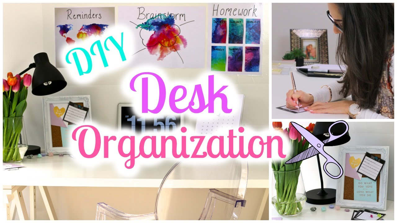 diy desk decor and organization ideas back to school 2016 youtube. Black Bedroom Furniture Sets. Home Design Ideas